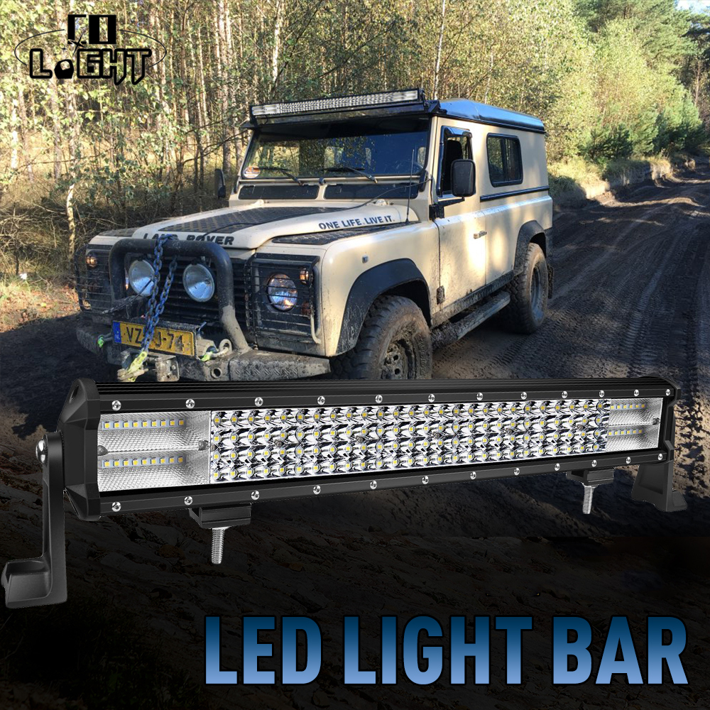 CO LIGHT 468W Led Bar 20'' with 2 Sets Brackets Spot Flood Combo Beam 8D DC 12V 24V for Off Road Lada UAZ Toyota UTE SUV Tractor h4 7 led headlights with led car canbus led chip 80w 8000lm 6000k hi lo led driving light for off road uaz lada