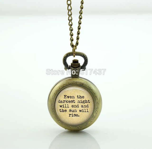 Les Miserables Literature Quote Watch Photo Locket Necklace Vintage Pocket  Watch Necklace