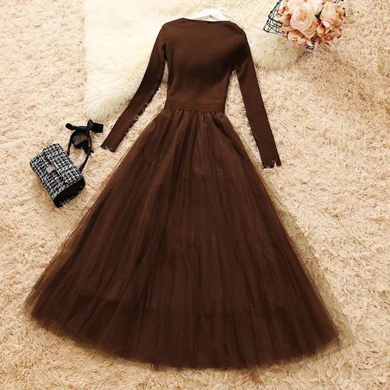 Female Knit Mesh Patchwork Dress Long Sleeve Ball Gown dress Elegant Woman Casual Knitted A-line Dresses wq1286 dropship Women Women's Clothings Women's Dresses cb5feb1b7314637725a2e7: Beige|coffe|black