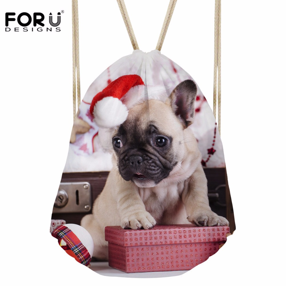 FORUDESIGNS Drawstring Bag Women's Christmas Animal Dog Prints Daypack Girls Fashion Sport Backpack Kids Casual Pouch Bolsos