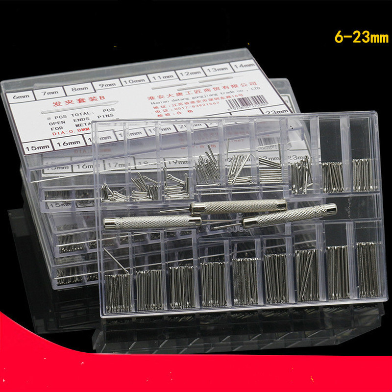 144pcs Watch Accessories Strap Connecting Shaft Stainless Steel Hairpin Combination Set 0.8mm 6-23mm Repair