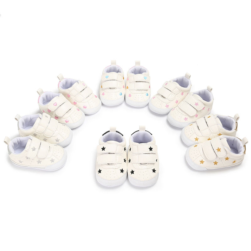 Newborn Baby Girls Boys Anti-slip Stars Hearts Warm Hook Loop Cartoon Shoes Soft Slippers Casual Shoes