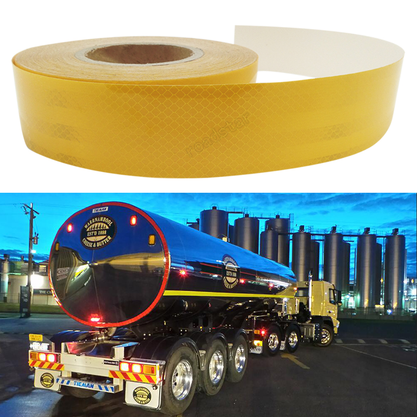 5cm X 10m  Reflective Tape Stickers Car Styling Self-adhesive Tape PET Engineering Grade Barrier Trailer Tape