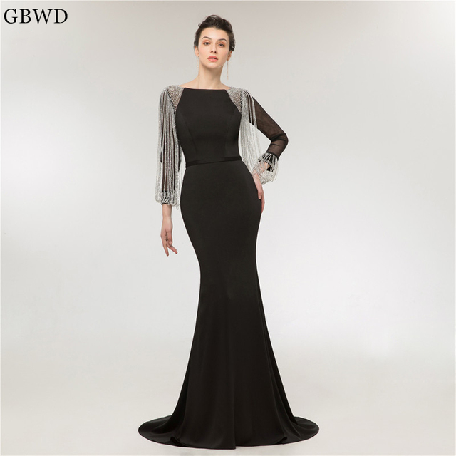 0fa9d1cb7a5 2019 Simple Elegant New Luxury Beaded Long Sleeved Black Evening Dress  Mermaid Prom Dress Sexy Dress