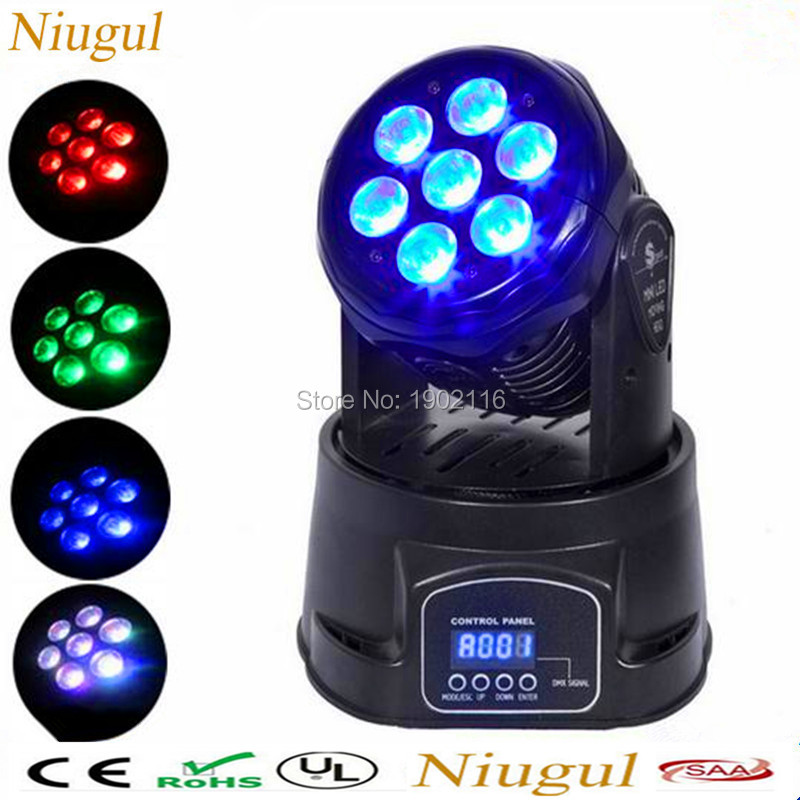 Niugul LED moving head light 7x12W Mini beam wash light disco KTV home party lights professional DMX512 stage light chandelier niugul mini 10w rgbw 4in1 led moving head dmx512 light led beam spot lighting show disco dj laser light christmas party lights