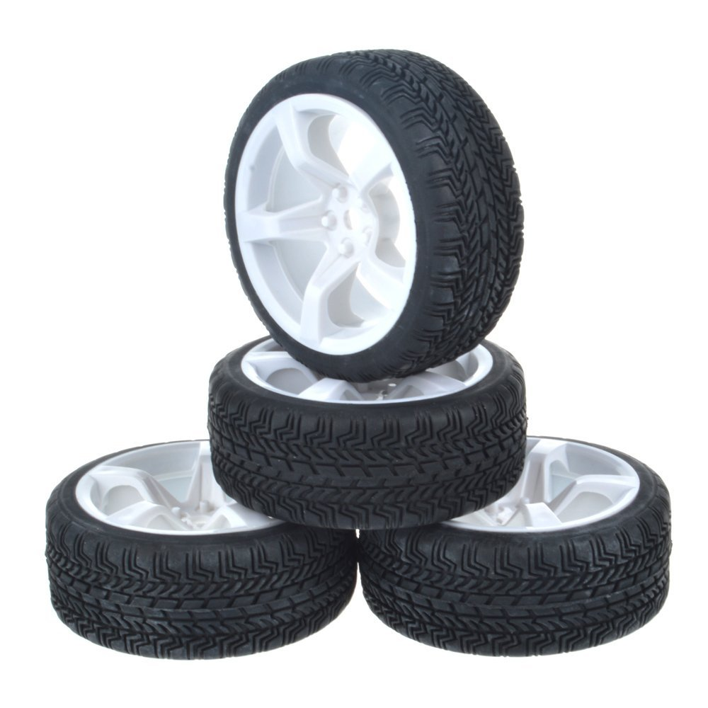 4Pcs 1:10 On-Road Car Rubber & 5-Spoke Plastic Wheel for Traxxas HSP Tamiya Mini 4wd CC01 TTO1 HPI Kyosho 1/10 RC On-Road Car universal replacement plastic tire w wheel rim hub for 1 10 on road model cars black 4pcs