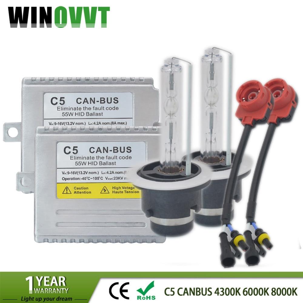 Kit lampe xénon D2S AC 55 W C5 Canbus HID Ballast 4300 K 5000 k 6000 K 8000 K xénon D2S ampoule Ballast sans erreur pour phare de voiture