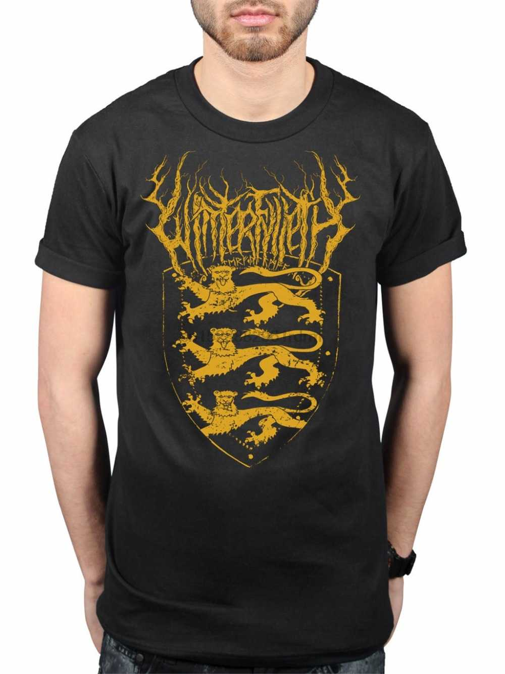 Print T Shirts Short Printing WinterFylleth Three Lions T-Shirt English Black Metal Band Tour Merch O-Neck Short-Sleeve T Shirts
