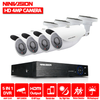 Super Full HD 4CH 4MP 2560 1440P Outdoor Surveillance Kit 36 Leds White Metal Bullet Waterproof