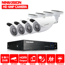 Super Full HD 4CH 4MP 2560*1440P Outdoor Surveillance Kit 36 leds White Metal Bullet Waterproof CCTV Camera Security System