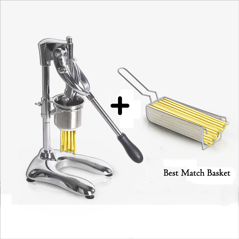 Long 30cm Fries Maker Super Long French Fries Stainless Steel Potato Chips Noodle Squeezer Kitchen Extruders Matching Basket