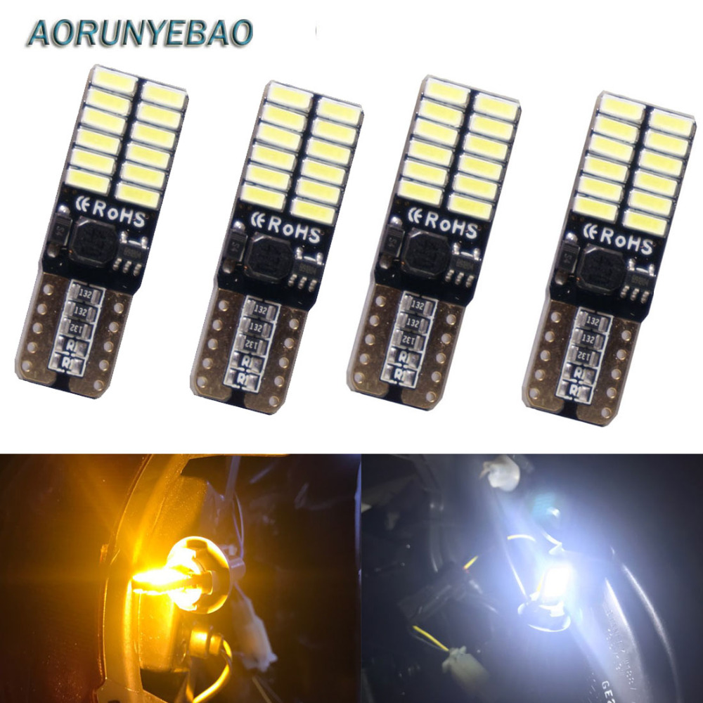 AORUNYEBAO 4pcs T10 194 <font><b>W5W</b></font> Car <font><b>LED</b></font> Lamp Auto Lampada <font><b>Bulb</b></font> Parking Lights Canbus T10 W2.1x9.5D 24SMD <font><b>12V</b></font> Ampoule Error Free image