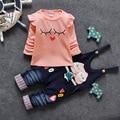 2 peça terno 2016 Meninas Bonito Pequeno Bonito dos desenhos animados Macacão calças Unisex Solto Cinta Bib Do Bebê Calças Haren Lazer Primavera outono