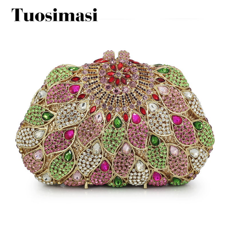 Women Evening Clutches Bags colorful Party Purses New Fashion Clutches Wedding Crystal Party Bag(88215-GP)