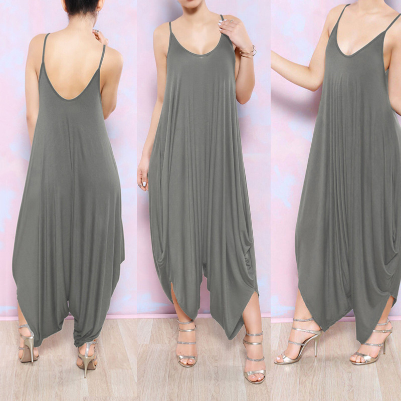 2017 Summer Plus Size Women Jumpsuit Fashion Sexy Sleeveless Spaghetti  Strap Deep V Neck Beach Coveralls Harem Rompers Playsuit 6e08e6b1ba11