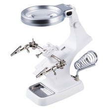 LED Clamp Soldering Iron Stand Helping Hands Magnifying Glass Magnifier Crocodile Clip SMD White
