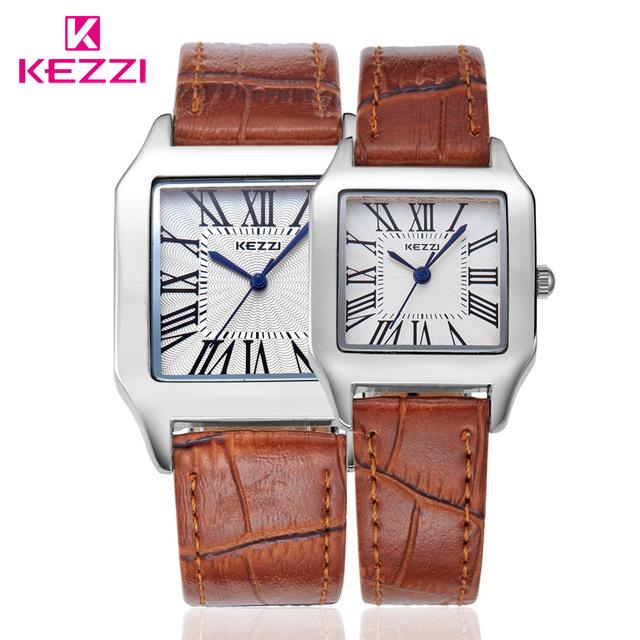 Pantalla Analógica genuino KEZZI Impermeable Mujeres de Los Hombres Del Reloj Del Número Romano de Cuero de Cuarzo Relojes Amantes Mesas Par de Reloj Unisex