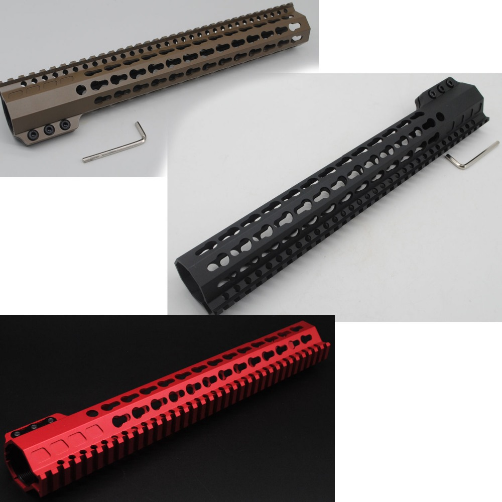 TriRock NEW 13.5'' Red / Black / Tan Clamping Free Floating Keymod Handguard Rail Mount STEEL BARREL NUT Fit .223 Rifle unique chinese red 13 5 ultralight key mod handguard rail mount with steel barrel nut 3 pcs rail section