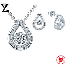 2016 New Fashion 925 White Cubic Zirconia Jewelry Set Gold Plated Dancing CZ Diamond Pendant & Earring for Women Accessories Set
