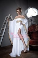 New 2014 Arabic Style Long Sleeves Gold Lace And White Appliques Chiffon Abaya Kaftan Evening Prom