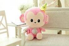 small cute plush pink monkey toy banana monkey toy smile monkey toy gift about 30cm