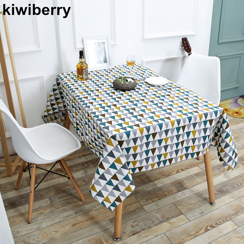Triangle Printed Patterns Table Cloth Cotton Linen Dining Decorated Mediterranean style  ...