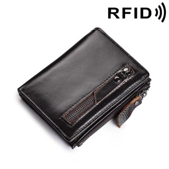 529b9130775 RFID bloqueo de la cartera hombres embrague bolsa bolso de la cremallera  billetera masculina moneda sección