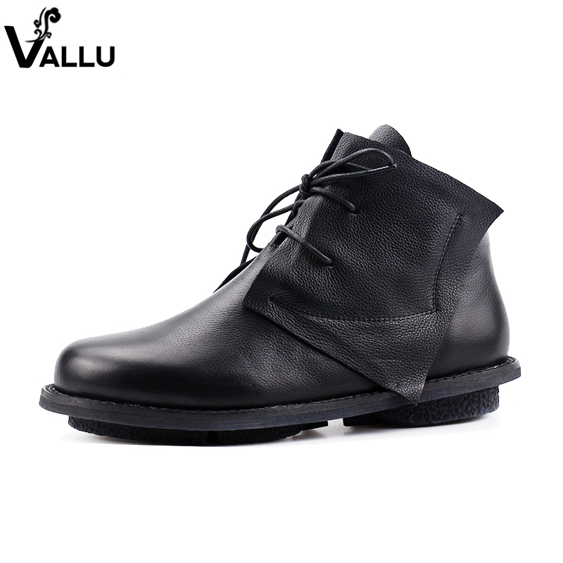 2018 VALLU Genuine Leather Women Ankle Boots Round Toes Cow Leather Shoes Women Flat Martin Boots Lace Up Ladies Bootie women boots genuine leather lace up ladies shoes lace up grey black ankle boots light eva sole slip proof martin boots a1