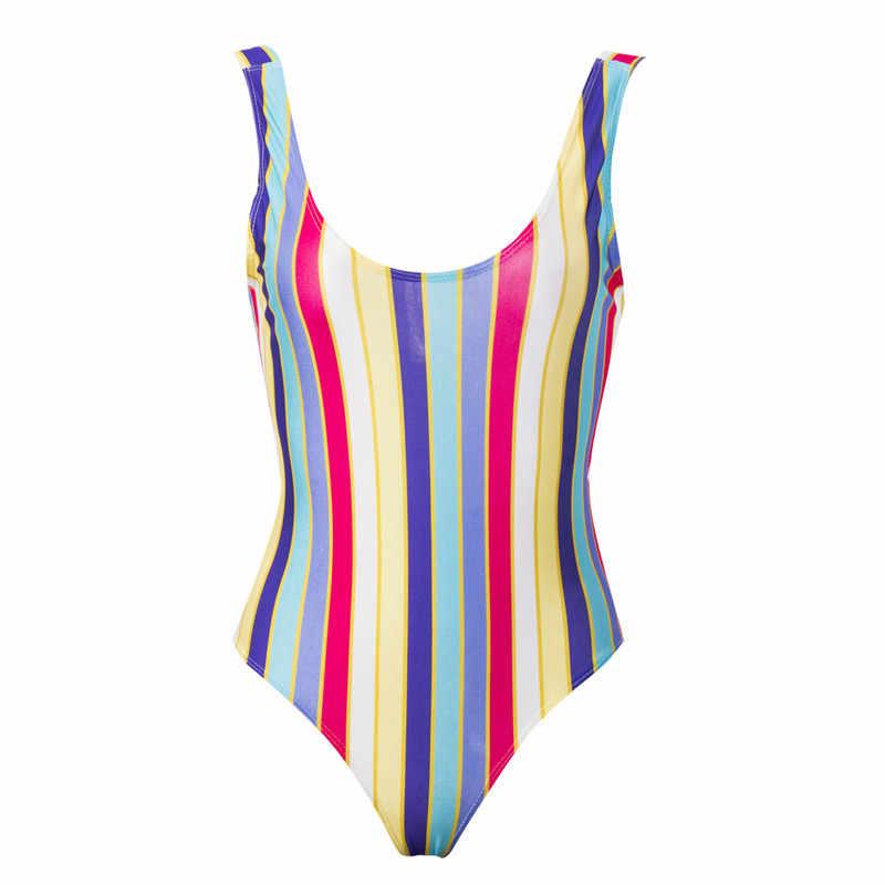 Traje de baño de una pieza de mujer Sexy de verano traje de baño Monokini Push Up traje de baño a rayas traje de baño acolchado