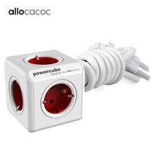 Allocacoc延長ソケットeuプラグpowercube旅行アダプタスマートホーム電源ストリップマルチ電動切り替えるeuプラグ 1.5 メートル 3mケーブル