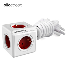 Allocacoc extension socket EU plug powercube travel adapter smart Home power strip multi electric Switched EU plug 1.5m 3m cable