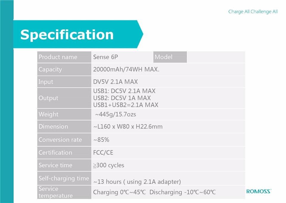 ROMOSS Sense 6P 20000mAh Power Bank Dual USB Portable External Battery 16