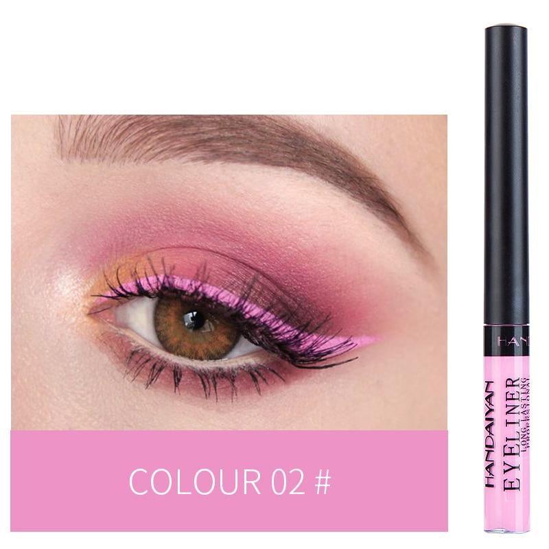 HANDAIYAN 12 Colors Waterproof Liquid Eyeliner Makeup Black White Pink Color Glitter Eye Liner Maquiagem China Makeup TSLM2