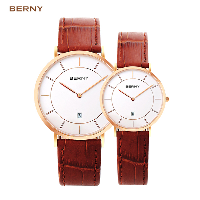 BERNY Simple Watch Ultra Thin lovely Watches High Quality Leather Strap couple w