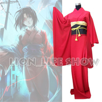 Japan Traditional Women Ryougi Shiki Red Furisode Kimono Cosplay Costume Set