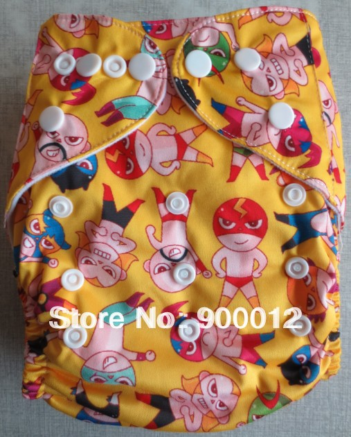 Free Shipping Wholesale New Prined Fabric Baby Infant Cloth Diaper 100 SETS Reusuable Waterproof Nappy one