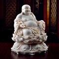 Dai Yutang enfeites de porcelana Dehua cerâmica escultura artesanato laugh Buda de jade vermelho/sentado Maitreya D01-030