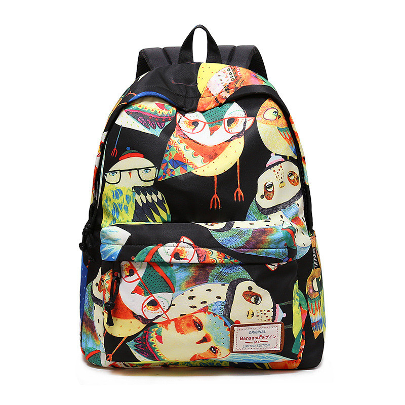 Owl women Backpack Casual Daily Girls backpack Teenager Travel backpack 2 sizes Lightweight girls should bag