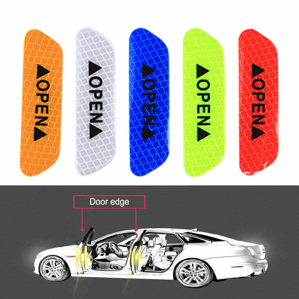 4PCS Multicolor PET Super Car Door Open Sticker Reflective Tape Safety Warning Decal  9cm x 3cm Drop Shipping