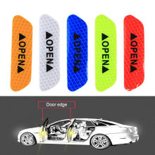 4PCS Multicolor PET Super Car Door Open Sticker Reflective Tape Safety Warning Decal 9cm x 3cm Drop Shipping(China)