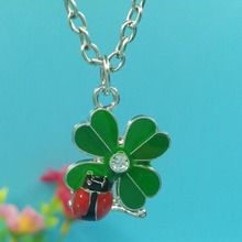 Enamel Beetles Clover Necklace For Women Gift Charms Pendants Necklace Collar Choker Fashion Jewelry Design Chain Necklace