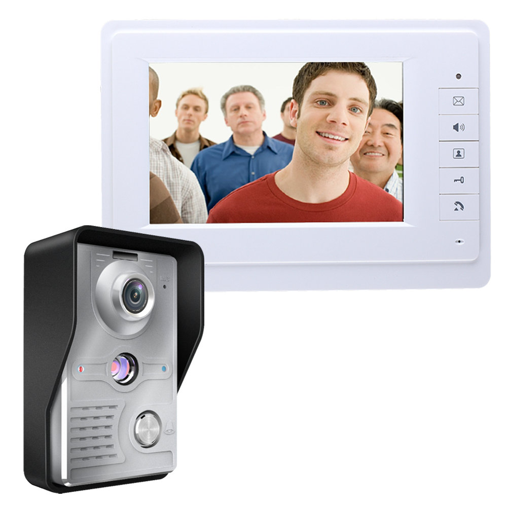 Video Intercom Monitor 7'' TFT LCD Wired Video Door Phone System Visual Intercom Doorbell 1 Indoor Monitor 1 Outdoor Camera