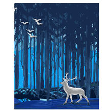 RIHE Forest Deer DIY Oil Painting By Numbers Wall Canvas Picture Coloring Paint Number Brush Drawing Animal Handpainted Craft