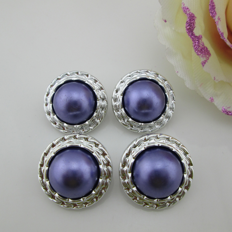 (PB63 22mm)20pcs Sparkling Purple Pearl Resin Button Rhinestone Buttons For Dress, Shoes