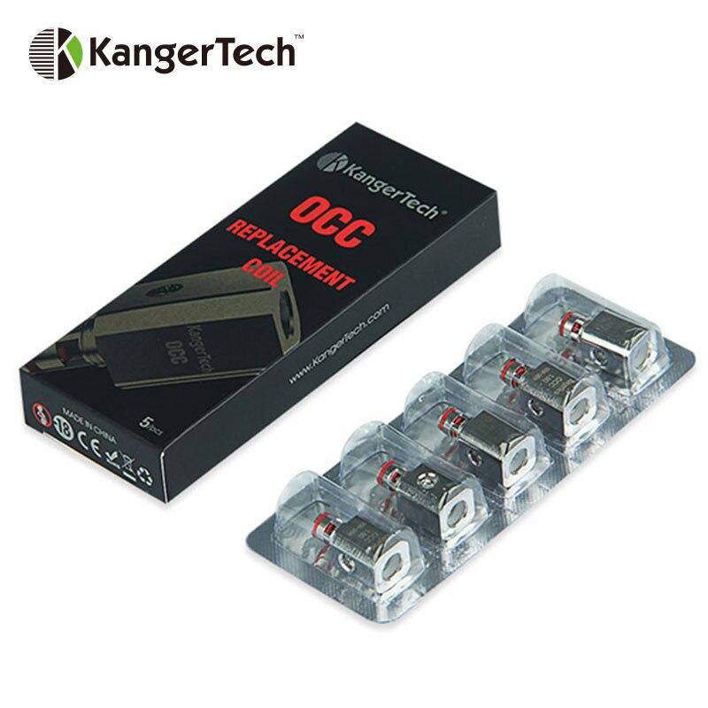100% Originale 5 pz KangerTech Serbatoio Ausiliario Verticale Organico Teste di Ricambio Atomizzatore per Kanger Serbatoio Ausiliario bobina Bobina OCC