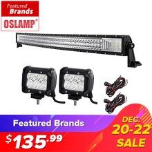 Oslamp 50 «702 W 3-Row Courbe LED Light Bar Offroad + 2×18 W Spot Faisceau D'inondation Led la Lumière de travail pour 12 v 24 v Camion ATV SUV Ramassage 4WD 4×4
