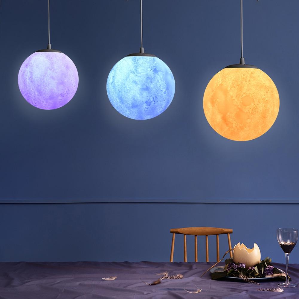 7 colors Nordic simple restaurant lamp creative retro personality bedroom art ball moon lanyard pendant lights