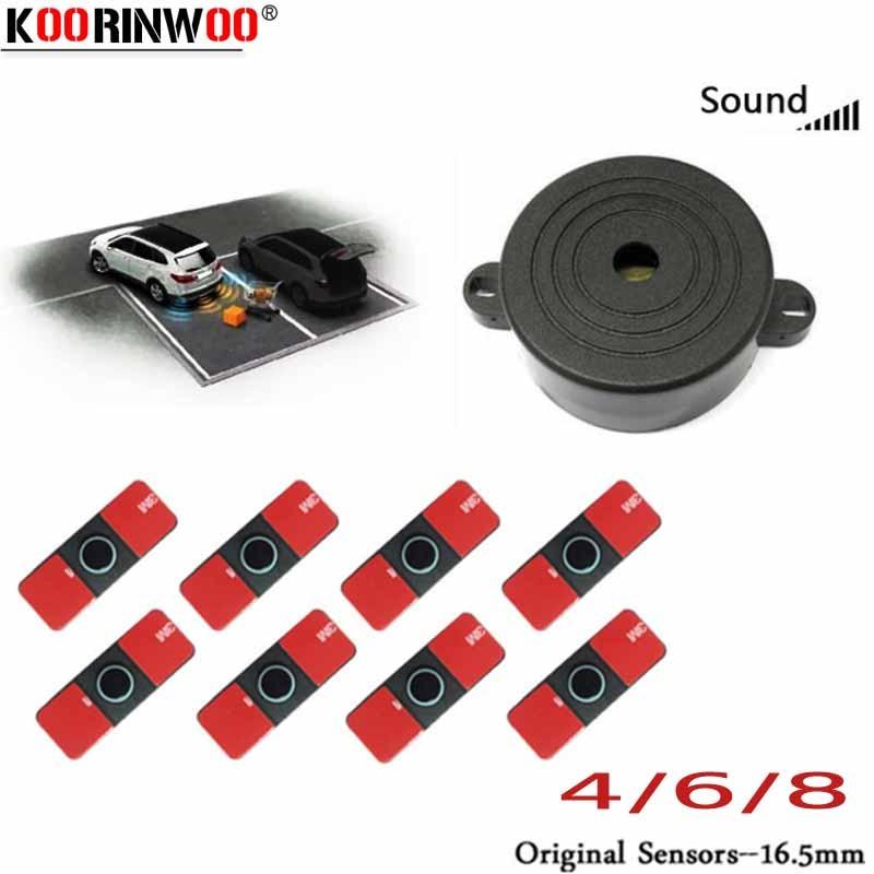 Koorinwoo Auto Original Flat Parktronic Parking Sensor with 8 6 4 Probe Reverse Buzzer Radar Car Detector Black White Silver Red Parking Sensors     - title=