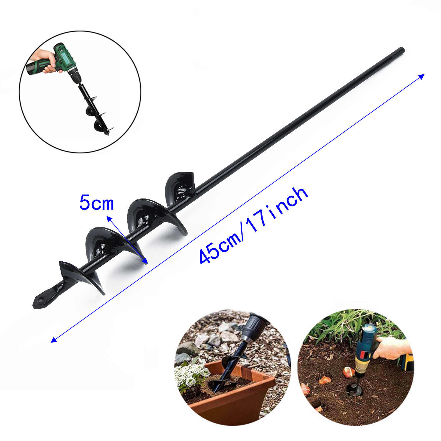 """Part For Planting Bedding Bulbs Pro Tool Replacement Drill Bit Accessories 17"""" Black Auger Attachment Seedlngs"""