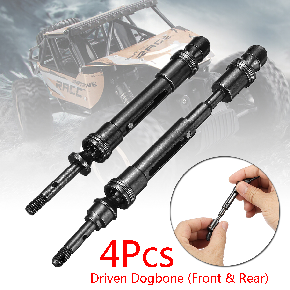 For Traxxas Slash 4X4 HQ727 Short Truck RC Car 4Pcs Drive Shaft Driven Dogbone High Speed Titanium Lightweight Upgrade 137x13mm 1 10 hq727 v2 traxxas slash short course truck parts number m0220 chassis